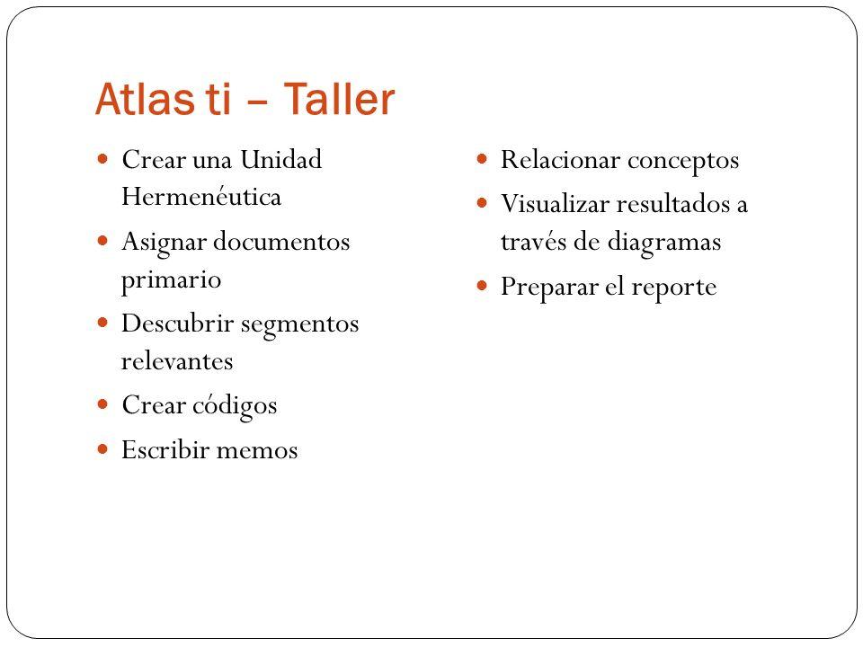 Atlas ti – Taller Crear una Unidad Hermenéutica Asignar documentos primario Descubrir segmentos relevantes Crear códigos Escribir memos Relacionar con