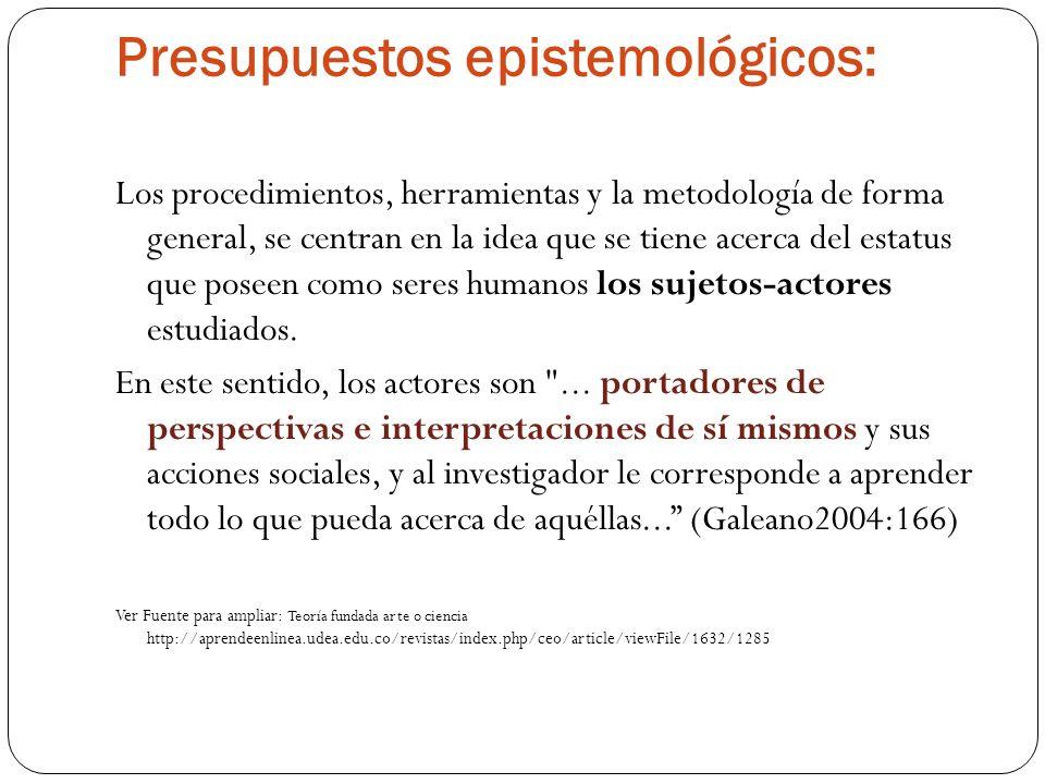 Presupuestos epistemológicos: Los procedimientos, herramientas y la metodología de forma general, se centran en la idea que se tiene acerca del estatu
