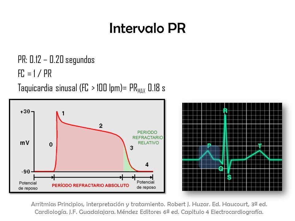 Intervalo PR PR: 0.12 – 0.20 segundos FC = 1 / PR Taquicardia sinusal (FC > 100 lpm)= PR MAX 0.18 s Arritmias Principios, interpretación y tratamiento