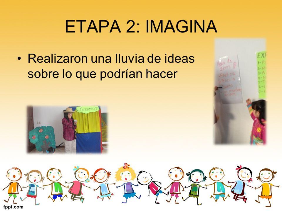 ETAPA 2: IMAGINA Realizaron una lluvia de ideas sobre lo que podrían hacer