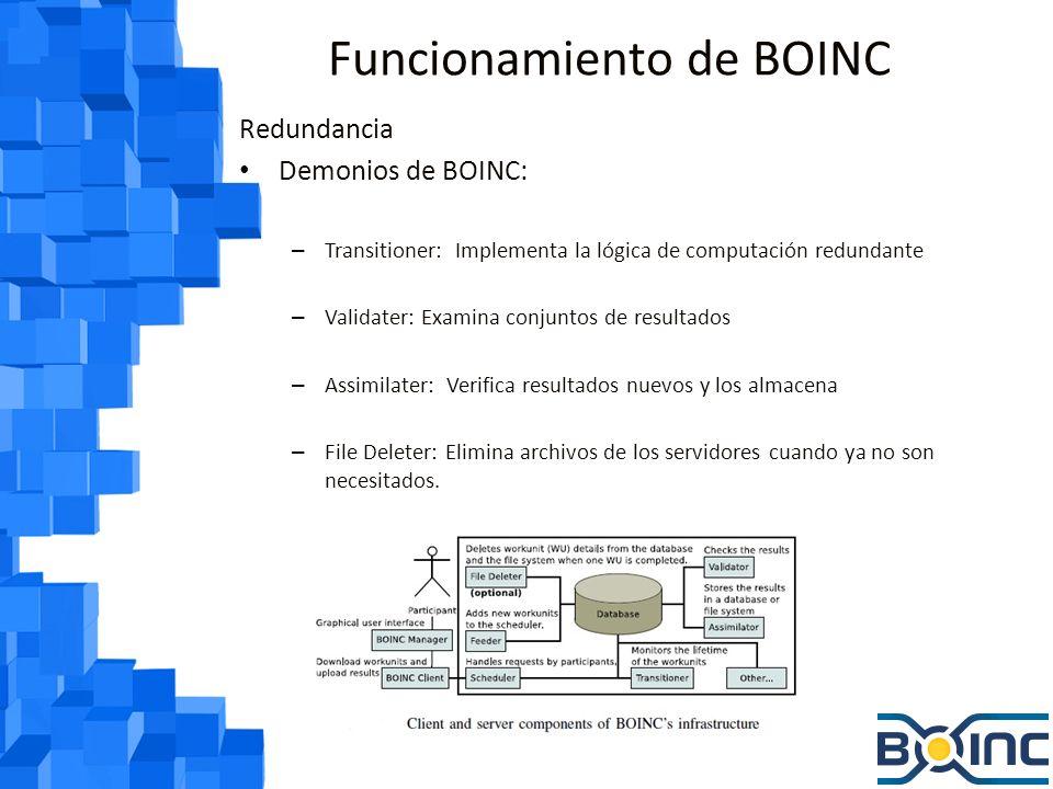 Funcionamiento de BOINC Redundancia Demonios de BOINC: – Transitioner: Implementa la lógica de computación redundante – Validater: Examina conjuntos de resultados – Assimilater: Verifica resultados nuevos y los almacena – File Deleter: Elimina archivos de los servidores cuando ya no son necesitados.