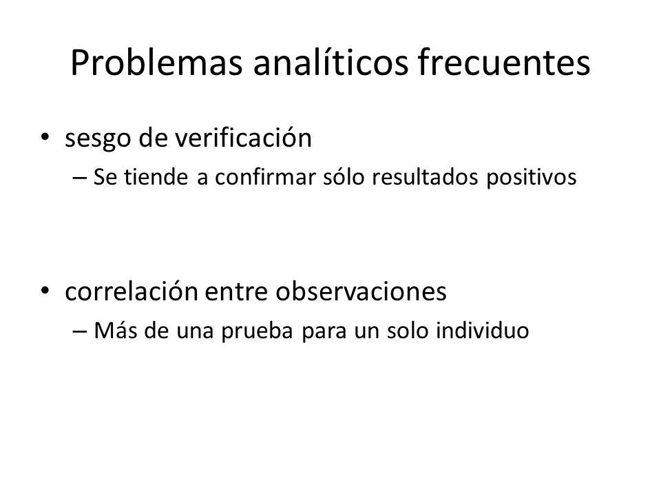 Problemas analíticos frecuentes sesgo de verificación – Se tiende a confirmar sólo resultados positivos correlación entre observaciones – Más de una prueba para un solo individuo