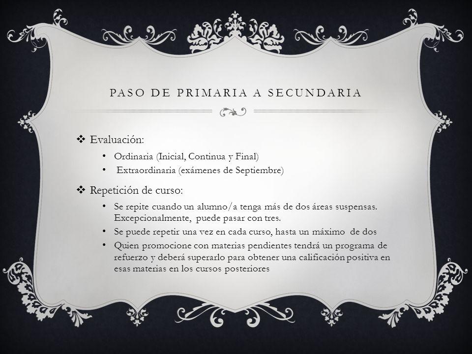 PASO DE PRIMARIA A SECUNDARIA Evaluación: Ordinaria (Inicial, Continua y Final) Extraordinaria (exámenes de Septiembre) Repetición de curso: Se repite