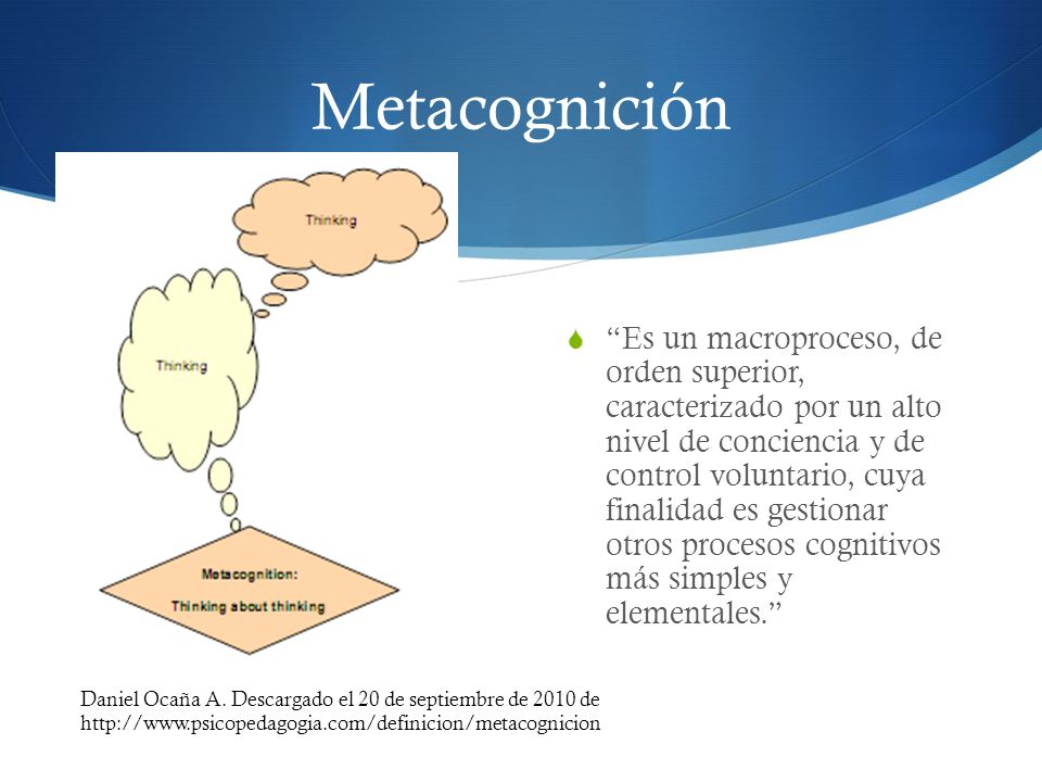 Metacognición Es un macroproceso, de orden superior, caracterizado por un alto nivel de conciencia y de control voluntario, cuya finalidad es gestiona
