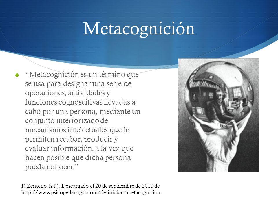Metacognición Metacognición es un término que se usa para designar una serie de operaciones, actividades y funciones cognoscitivas llevadas a cabo por