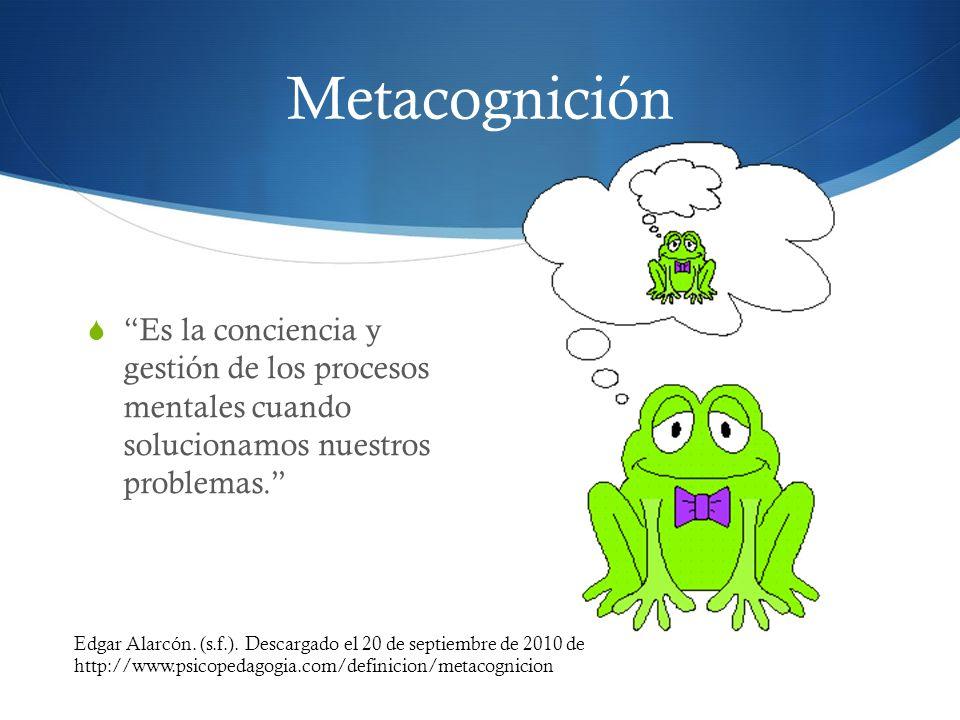 Metacognición Es la conciencia y gestión de los procesos mentales cuando solucionamos nuestros problemas. Edgar Alarcón. (s.f.). Descargado el 20 de s