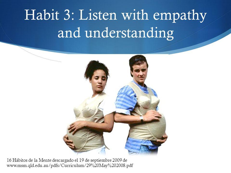 Habit 3: Listen with empathy and understanding 16 Hábitos de la Mente descargado el 19 de septiembre 2009 de www.msm.qld.edu.au/pdfs/Curriculum/29%20M