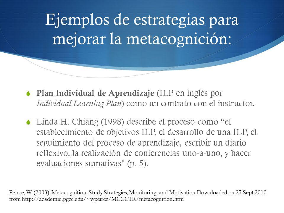 Ejemplos de estrategias para mejorar la metacognición: Plan Individual de Aprendizaje (ILP en inglés por Individual Learning Plan ) como un contrato c