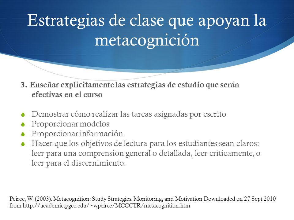 Estrategias de clase que apoyan la metacognición 3. Enseñar explícitamente las estrategias de estudio que serán efectivas en el curso Demostrar cómo r