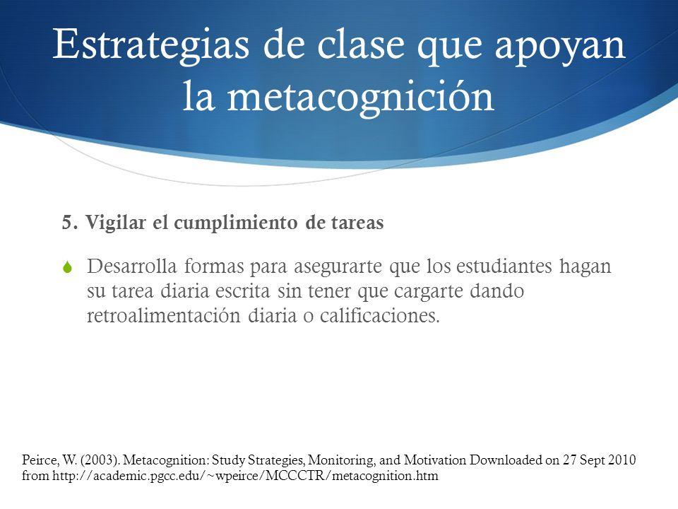 Estrategias de clase que apoyan la metacognición 5. Vigilar el cumplimiento de tareas Desarrolla formas para asegurarte que los estudiantes hagan su t
