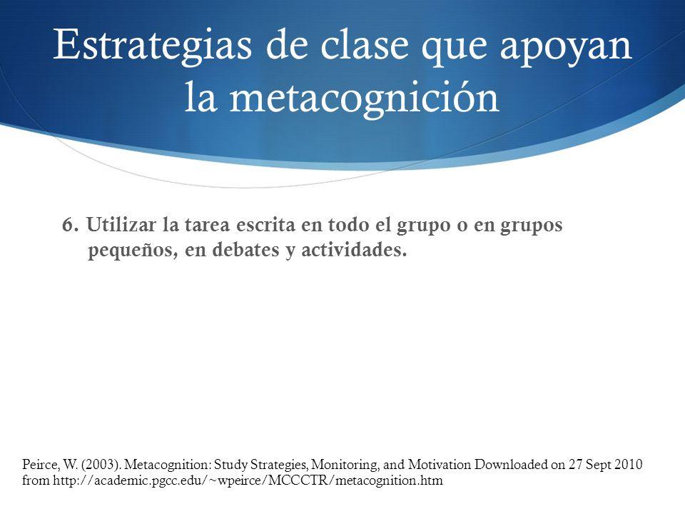 Estrategias de clase que apoyan la metacognición 6. Utilizar la tarea escrita en todo el grupo o en grupos pequeños, en debates y actividades. Peirce,