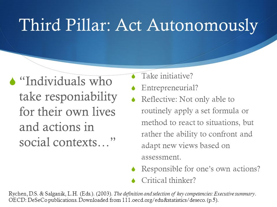Third Pillar: Act Autonomously Individuals who take responiability for their own lives and actions in social contexts… Take initiative.