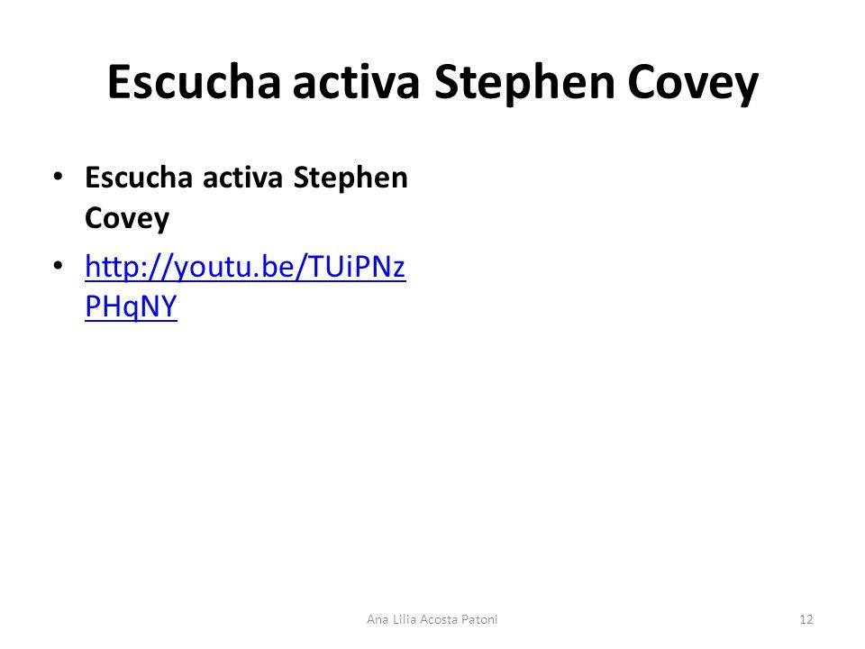 Escucha activa Stephen Covey http://youtu.be/TUiPNz PHqNY http://youtu.be/TUiPNz PHqNY 12Ana Lilia Acosta Patoni