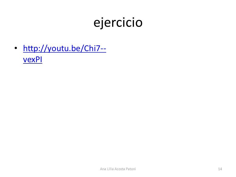 ejercicio http://youtu.be/Chi7-- vexPI http://youtu.be/Chi7-- vexPI 14Ana Lilia Acosta Patoni