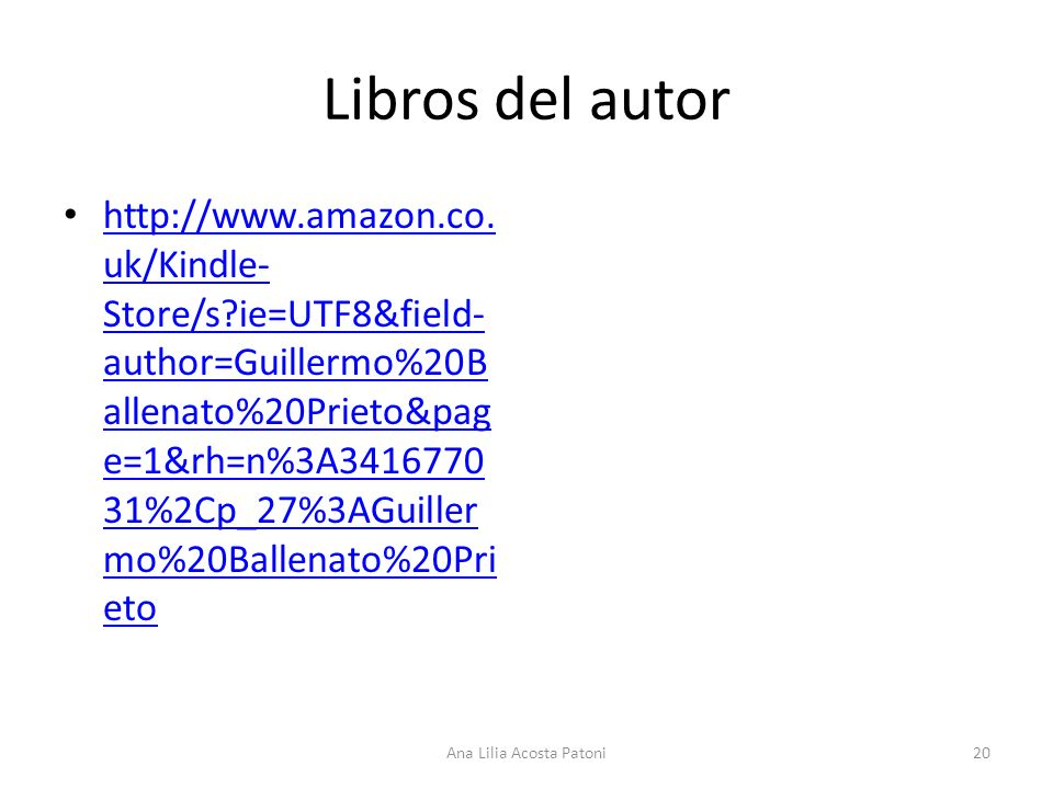 Libros del autor http://www.amazon.co. uk/Kindle- Store/s?ie=UTF8&field- author=Guillermo%20B allenato%20Prieto&pag e=1&rh=n%3A3416770 31%2Cp_27%3AGui