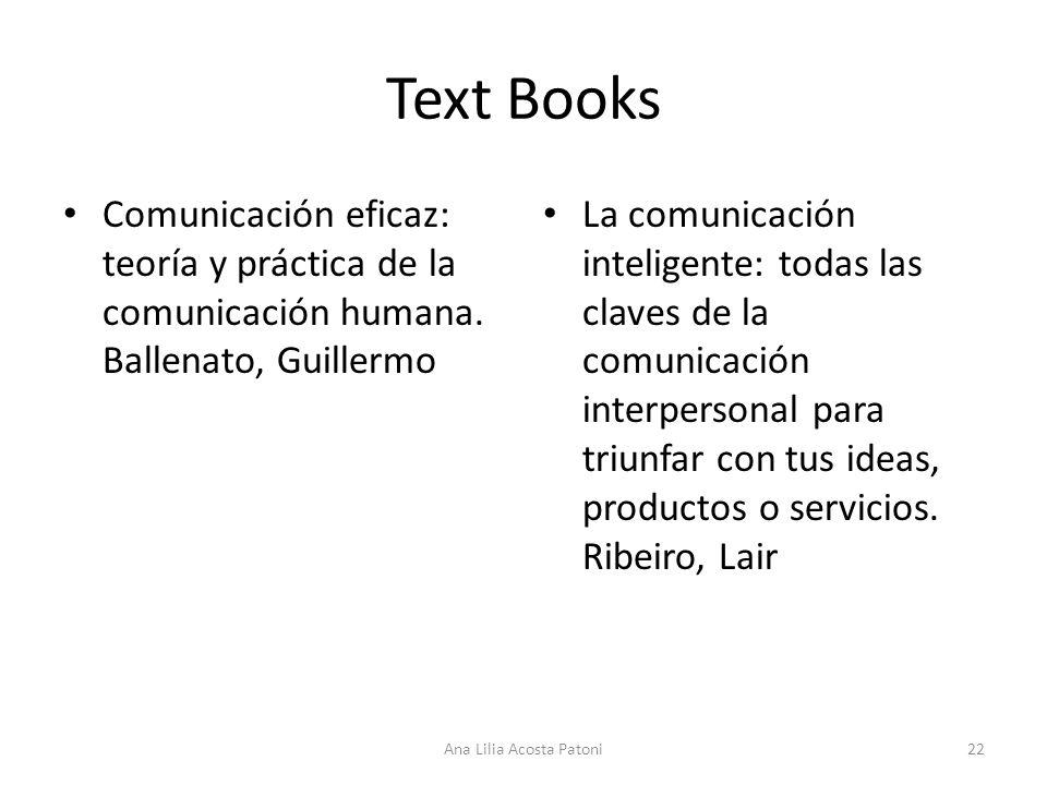 Text Books Comunicación eficaz: teoría y práctica de la comunicación humana.
