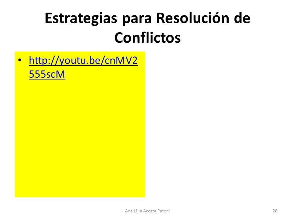 Estrategias para Resolución de Conflictos http://youtu.be/cnMV2 555scM http://youtu.be/cnMV2 555scM 28Ana Lilia Acosta Patoni