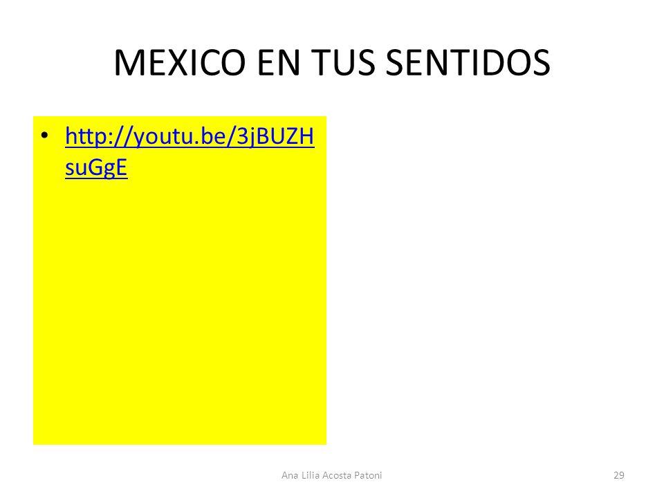 MEXICO EN TUS SENTIDOS http://youtu.be/3jBUZH suGgE http://youtu.be/3jBUZH suGgE 29Ana Lilia Acosta Patoni