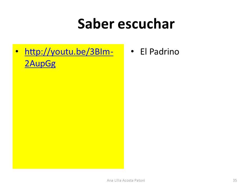 Saber escuchar http://youtu.be/3BIm- 2AupGg http://youtu.be/3BIm- 2AupGg El Padrino 35Ana Lilia Acosta Patoni