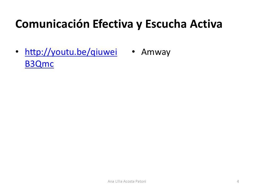 Comunicación Efectiva y Escucha Activa http://youtu.be/qiuwei B3Qmc http://youtu.be/qiuwei B3Qmc Amway 4Ana Lilia Acosta Patoni