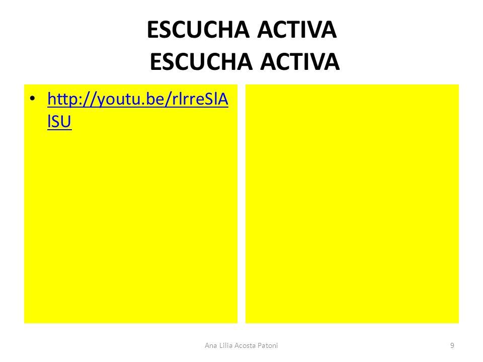 ESCUCHA ACTIVA http://youtu.be/rlrreSlA lSU http://youtu.be/rlrreSlA lSU 9Ana Lilia Acosta Patoni