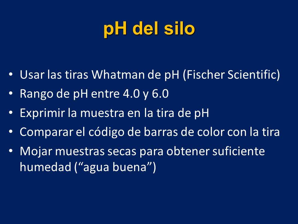Usar las tiras Whatman de pH (Fischer Scientific) Rango de pH entre 4.0 y 6.0 Exprimir la muestra en la tira de pH Comparar el código de barras de color con la tira Mojar muestras secas para obtener suficiente humedad (agua buena)