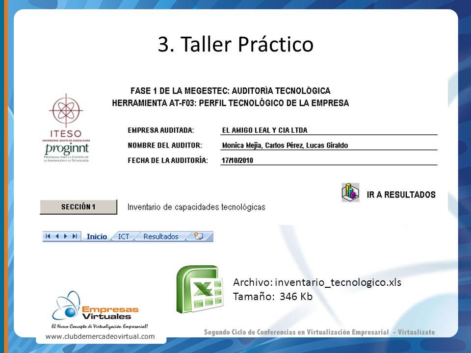 Archivo: inventario_tecnologico.xls Tamaño: 346 Kb