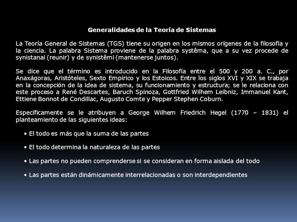 Generalidades de la Teoría de Sistemas La Teoría General de Sistemas (TGS) tiene su origen en los mismos orígenes de la filosofía y la ciencia. La pal