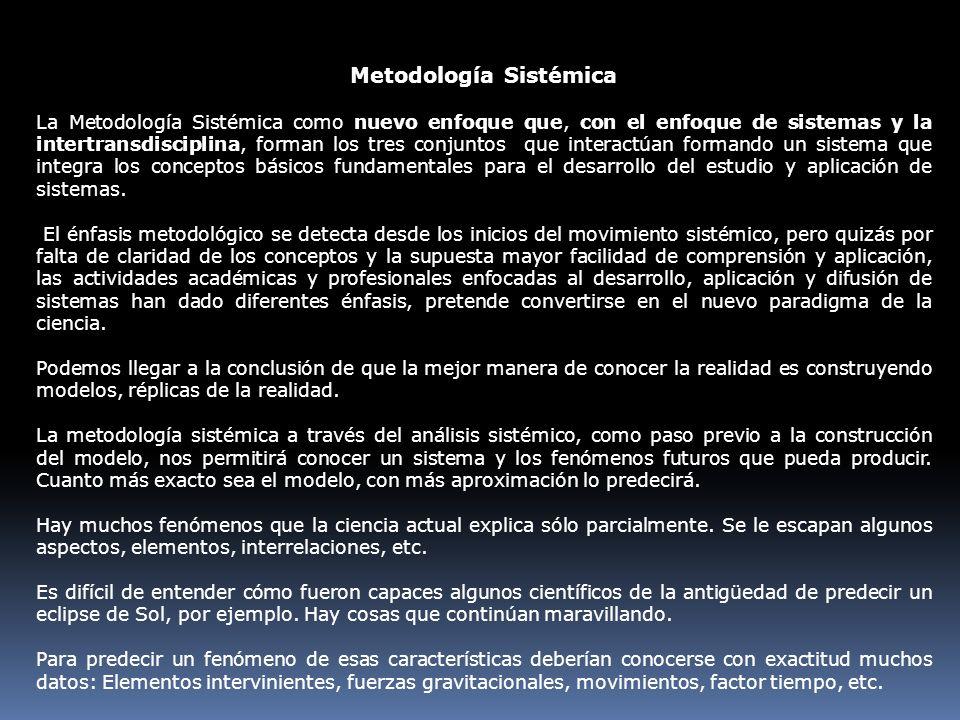 Metodología Sistémica La Metodología Sistémica como nuevo enfoque que, con el enfoque de sistemas y la intertransdisciplina, forman los tres conjuntos