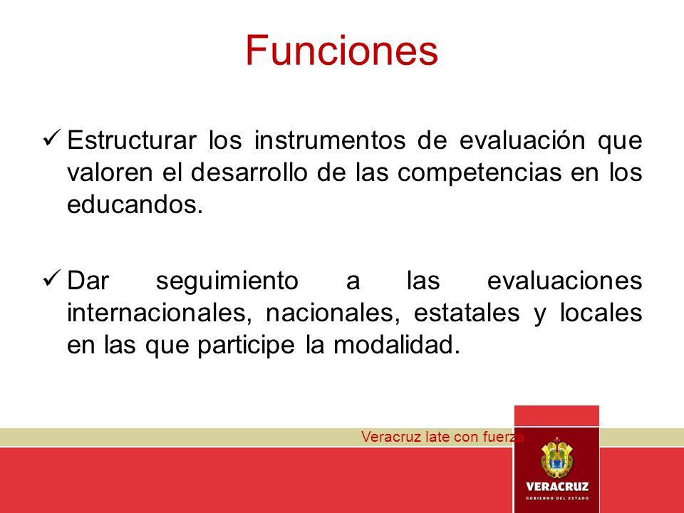 Veracruz late con fuerza Funciones Estructurar los instrumentos de evaluación que valoren el desarrollo de las competencias en los educandos. Dar segu