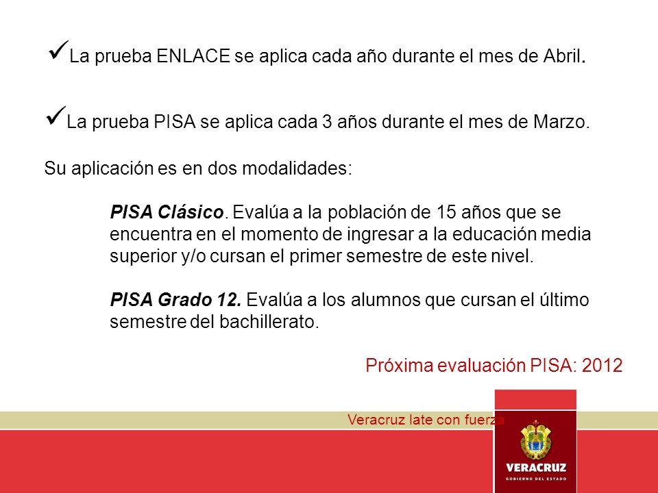 Veracruz late con fuerza La prueba ENLACE se aplica cada año durante el mes de Abril. La prueba PISA se aplica cada 3 años durante el mes de Marzo. Su