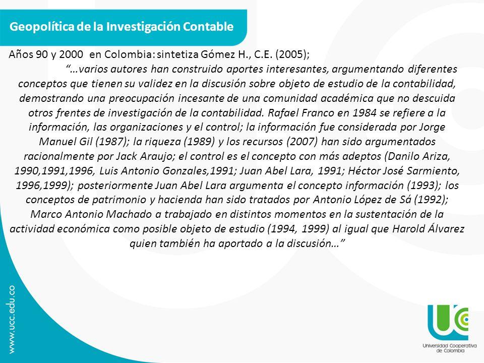 Geopolítica de la Investigación Contable Años 90 y 2000 en Colombia: sintetiza Gómez H., C.E. (2005); …varios autores han construido aportes interesan