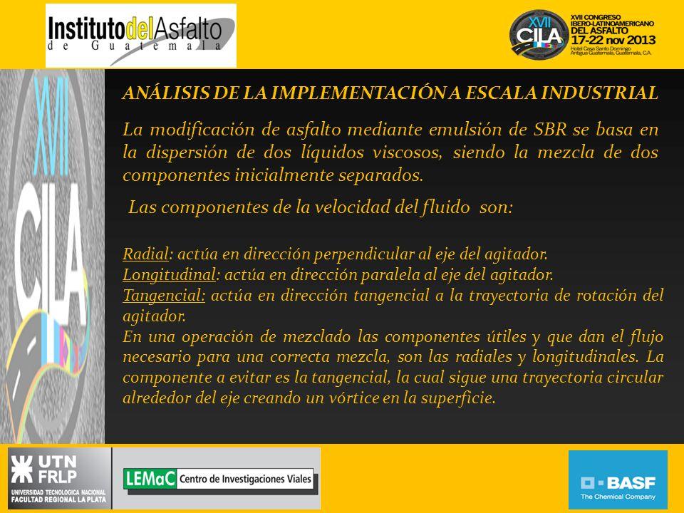 ANÁLISIS DE LA IMPLEMENTACIÓN A ESCALA INDUSTRIAL La modificación de asfalto mediante emulsión de SBR se basa en la dispersión de dos líquidos viscoso