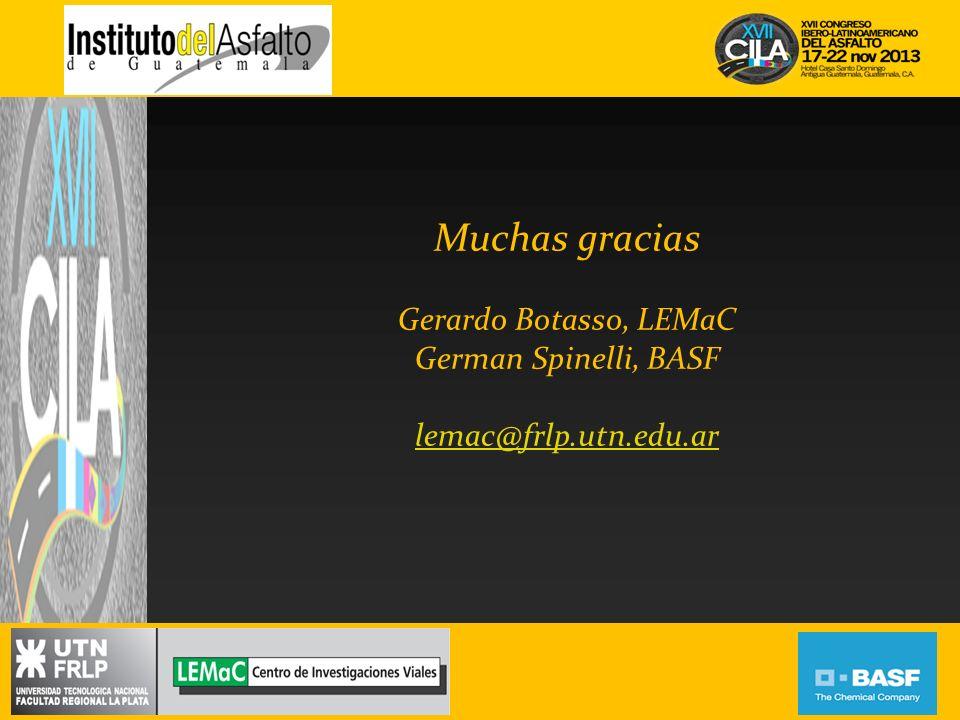Muchas gracias Gerardo Botasso, LEMaC German Spinelli, BASF lemac@frlp.utn.edu.ar