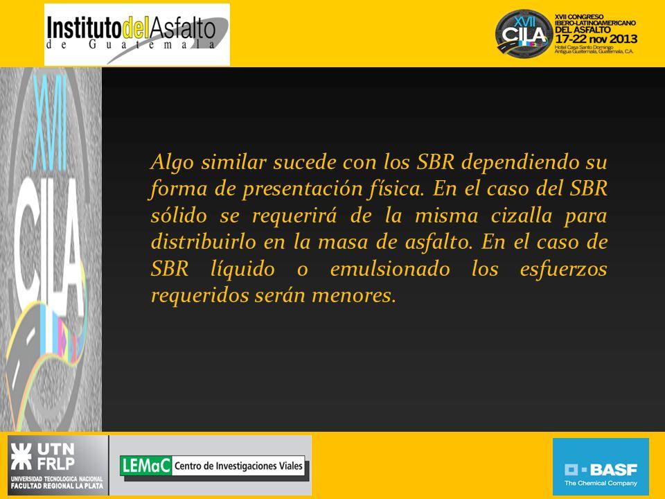 Algo similar sucede con los SBR dependiendo su forma de presentación física. En el caso del SBR sólido se requerirá de la misma cizalla para distribui