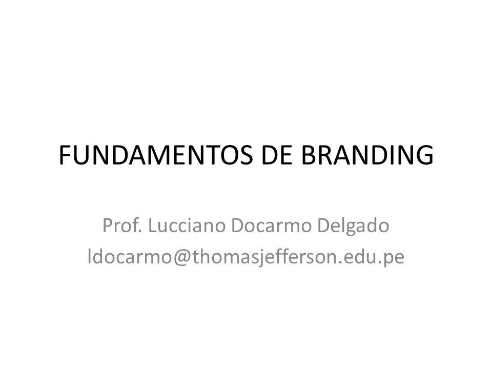 FUNDAMENTOS DE BRANDING Prof. Lucciano Docarmo Delgado ldocarmo@thomasjefferson.edu.pe