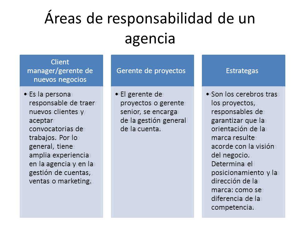 Áreas de responsabilidad de un agencia Client manager/gerente de nuevos negocios Es la persona responsable de traer nuevos clientes y aceptar convocat