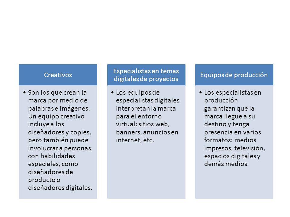 Creativos Son los que crean la marca por medio de palabras e imágenes. Un equipo creativo incluye a los diseñadores y copies, pero también puede invol
