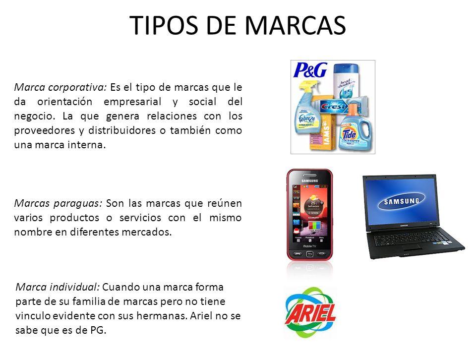 TIPOS DE MARCAS Marca corporativa: Es el tipo de marcas que le da orientación empresarial y social del negocio. La que genera relaciones con los prove
