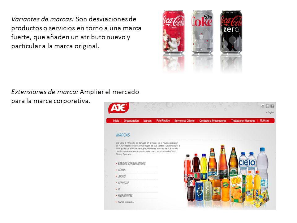 Variantes de marcas: Son desviaciones de productos o servicios en torno a una marca fuerte, que añaden un atributo nuevo y particular a la marca origi