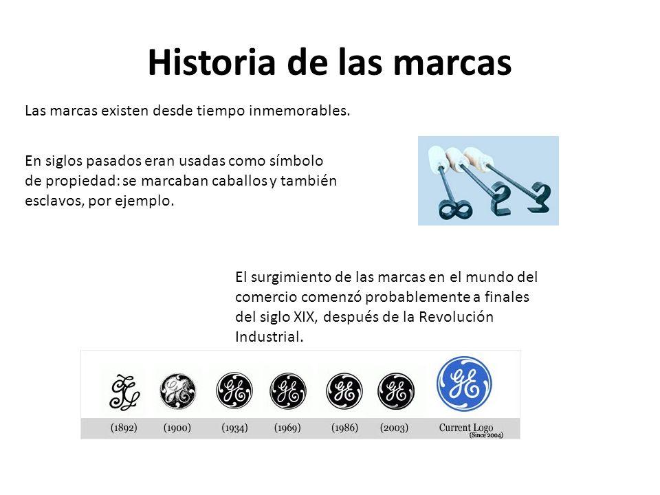Historia de las marcas Las marcas existen desde tiempo inmemorables. En siglos pasados eran usadas como símbolo de propiedad: se marcaban caballos y t