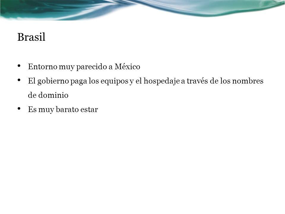 Brasil Entorno muy parecido a México El gobierno paga los equipos y el hospedaje a través de los nombres de dominio Es muy barato estar