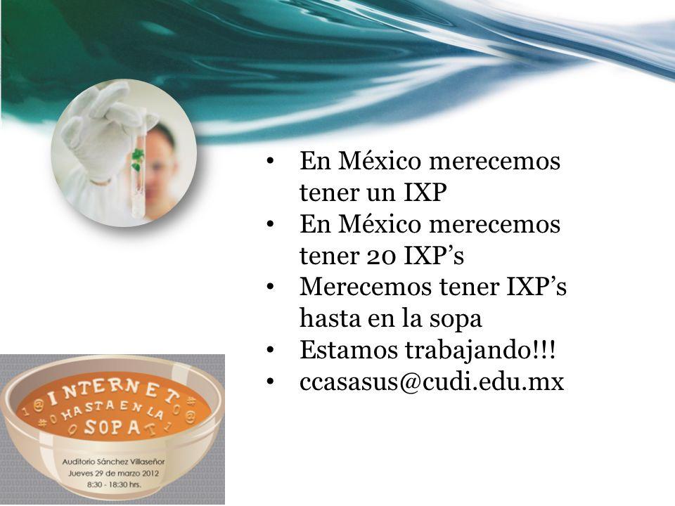 En México merecemos tener un IXP En México merecemos tener 20 IXPs Merecemos tener IXPs hasta en la sopa Estamos trabajando!!.