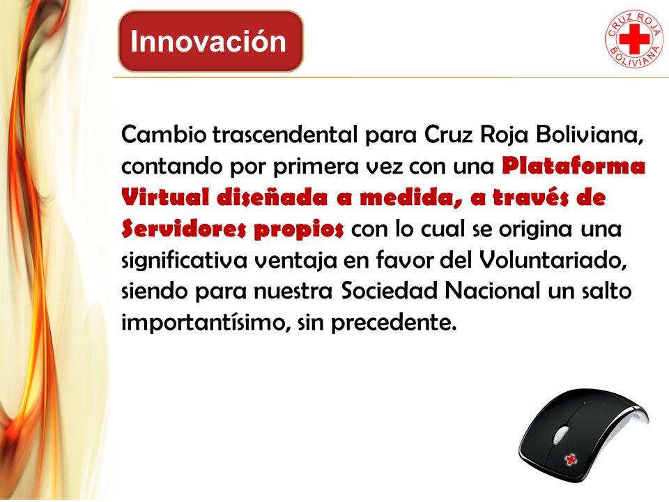 Innovación Cambio trascendental para Cruz Roja Boliviana, contando por primera vez con una Plataforma Virtual diseñada a medida, a través de Servidore