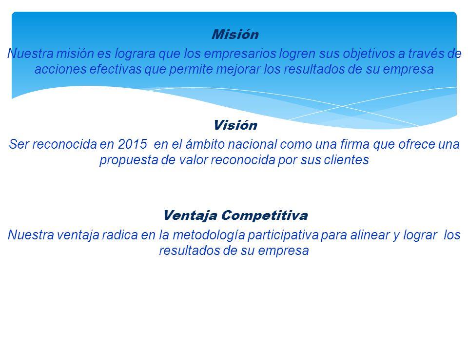 Misión Nuestra misión es lograra que los empresarios logren sus objetivos a través de acciones efectivas que permite mejorar los resultados de su empresa Visión Ser reconocida en 2015 en el ámbito nacional como una firma que ofrece una propuesta de valor reconocida por sus clientes Ventaja Competitiva Nuestra ventaja radica en la metodología participativa para alinear y lograr los resultados de su empresa