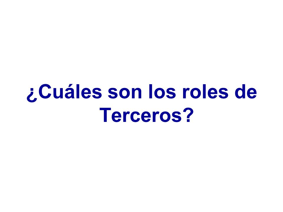 ¿Cuáles son los roles de Terceros?