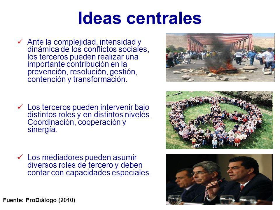 Ideas centrales Ante la complejidad, intensidad y dinámica de los conflictos sociales, los terceros pueden realizar una importante contribución en la prevención, resolución, gestión, contención y transformación.