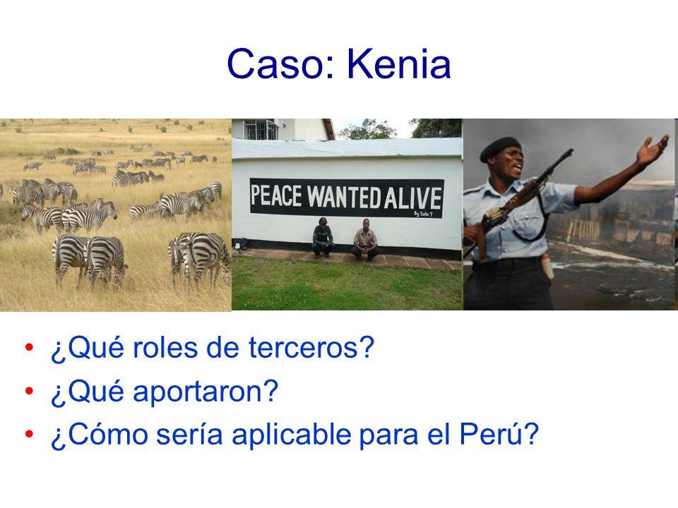 Caso: Kenia ¿Qué roles de terceros? ¿Qué aportaron? ¿Cómo sería aplicable para el Perú?