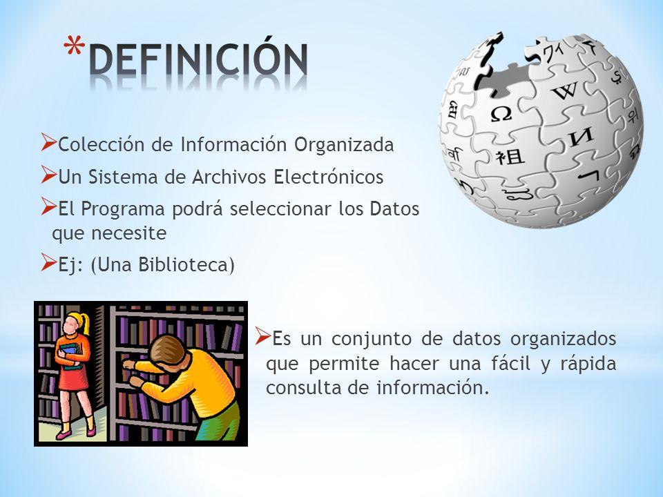 Colección de Información Organizada Un Sistema de Archivos Electrónicos El Programa podrá seleccionar los Datos que necesite Ej: (Una Biblioteca) Es u