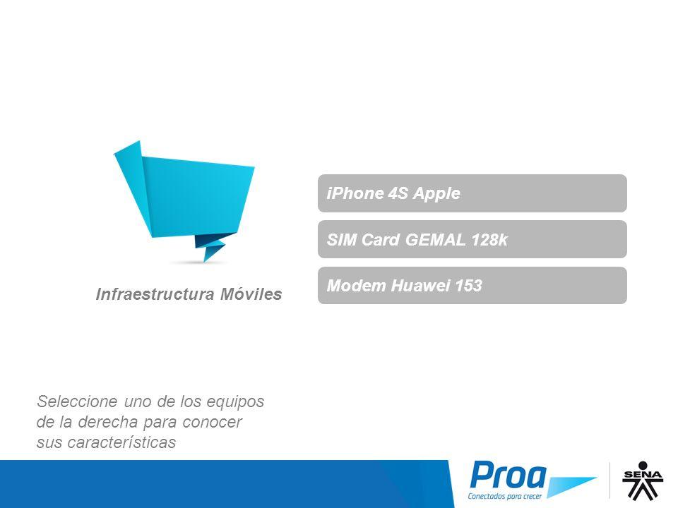 Infraestructura Móviles iPhone 4S Apple SIM Card GEMAL 128k Modem Huawei 153 Seleccione uno de los equipos de la derecha para conocer sus característi